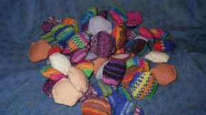 Hexipuffs for a quilt... made from sock wool oddments