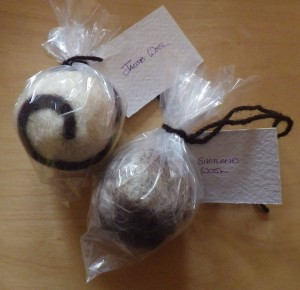 Woolly wash balls... soon to be filled with lovely soap from Mill Cottage Soap