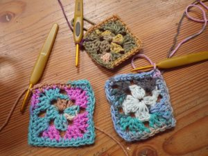 Everyone produced a granny square - here are three of them