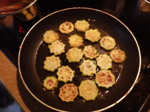 Delicious fried in olive oil with chopped fresh garlic
