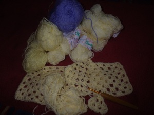 A new blankie from left-overs... it will be creams and yellows with a cornflower blue border