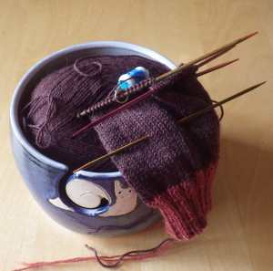 Work in progress on Eddie's sock (displayed with my happy snail yarn bowl)
