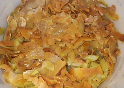 Fermented apple scraps for vinegar