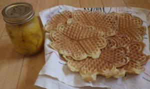 My bottled peaches and waffles made using an egg from Aliss