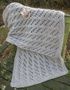 British Suffolk Wool Shawl and Portuguese Alder Wood Pin