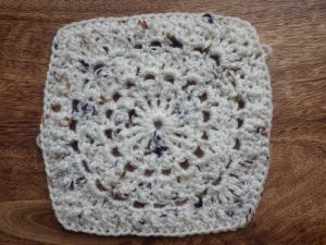 Circle of Friends square made with woolly yarn from Katy the Night Owl