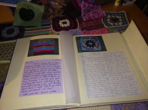 Squares from two friends, along with their messages