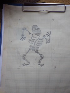 A rough chart for a dancing skeleton