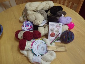 Our haul (bought and free) from Red Apple Yarns