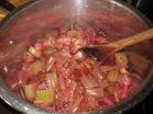 Stewed rhubarb and strawberry