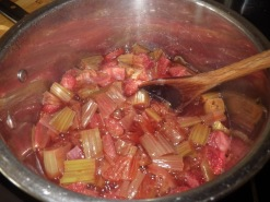 Stewed rhubarb and strawberry