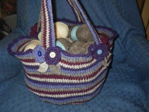 A work bag made from yarn left over from another project