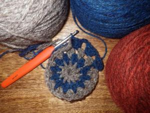 Yarn from Karen... just starting the square