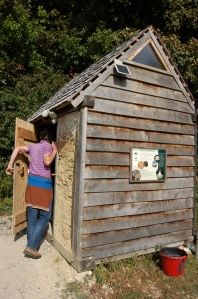 The classic image of a compost toilet