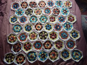 It is possible to use all 46 hexagons in a symmetrical blanket