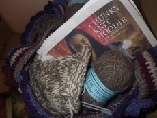 Thick Jacob's wool hoodie... on hold until the temperature drops