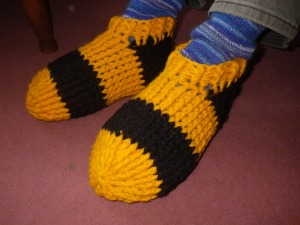 New slippers in Black and yellow Axminster rug yarn