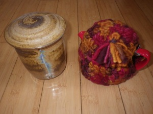 Tea caddy and cosy teapot