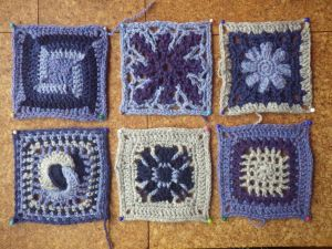 Six squares in New Lanark Wool