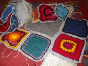 Charity blanket from scrap yarn
