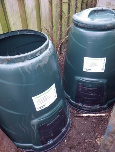 Two 330l compost bins