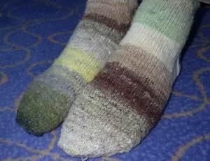 Arctic Awakening Socks: knitted in Noro Taiyo yarn
