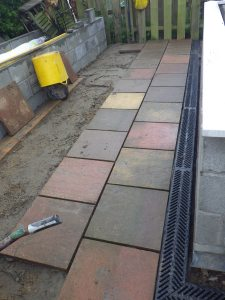 Slabs back as a patio