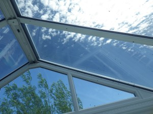We have glass in the roof (but not the door) and lots and lots of flies