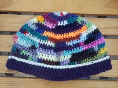 Multi-coloured hat from scraps