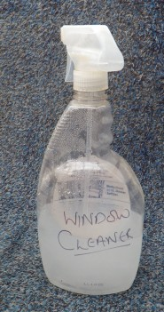 I make my own window cleaner and put it in a reused spray bottle